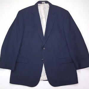 Jos A Bank Blue Blazer 46R Mens Linen Wool 2 Butto